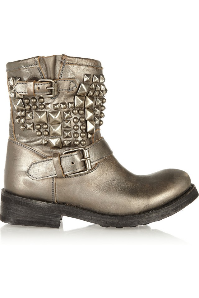 ASH Tyler studded metallic leather boots