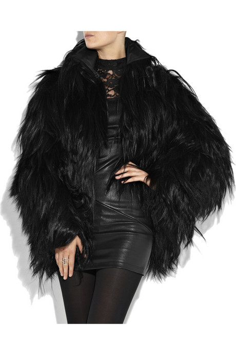 fakefur faux fur black jacket