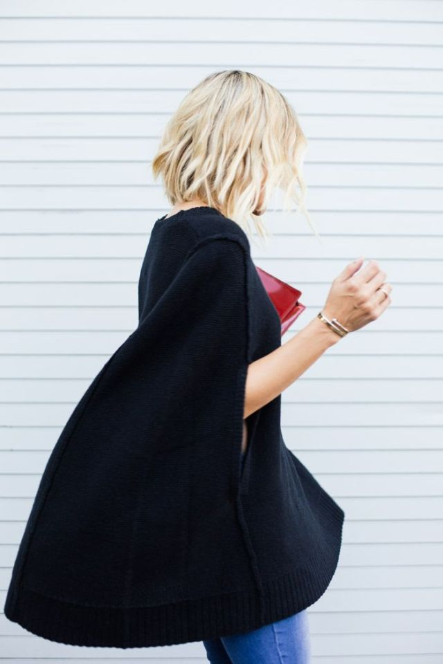 Black wool cape coat -2