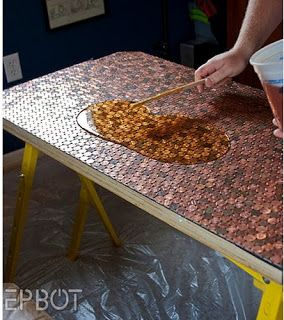 penny covered floor diy
