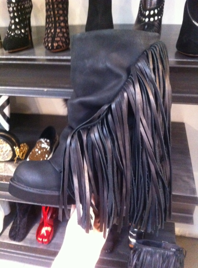 Maxfield Los Angeles Designer Fringe Boots Bootees Wedge Black Leather