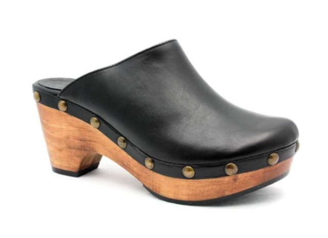 cordani zorba clogs black leather wood