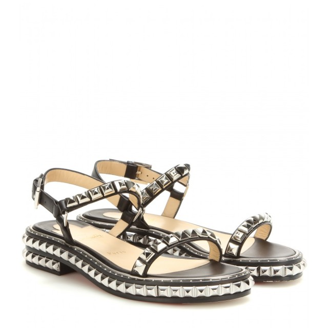 christian louboutin black studded sandals silver